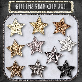 Glitter Sparkle Star Shaped Digital Clip Art in Shades of Platinum {10 count}