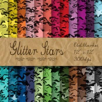 Glitter Stars Digital Paper Pack - Glitter Textures - 24 P