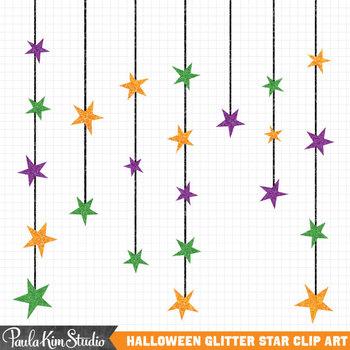 Glitter Stars Halloween Clipart