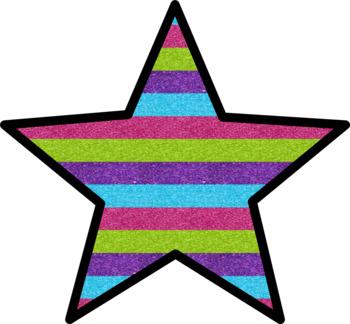Glitter Stars and Borders Clip Art