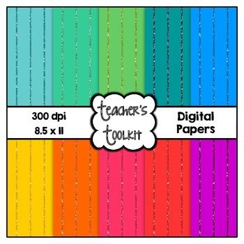 Glitter Stripes Digital Background Papers {8.5 x 11} Clip Art CU OK