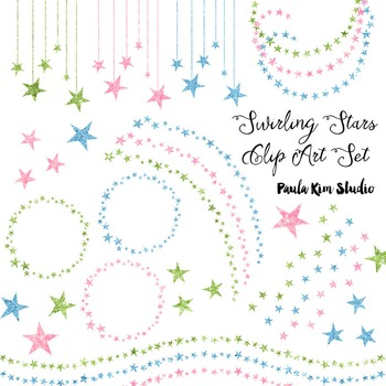 Glitter Swirling Stars Clip Art Set #2 Light Colors