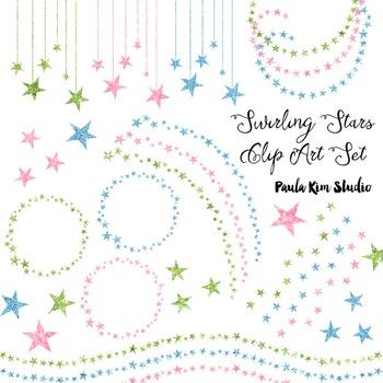Glitter Swirling Stars Clip Art Set #2 Light Colors