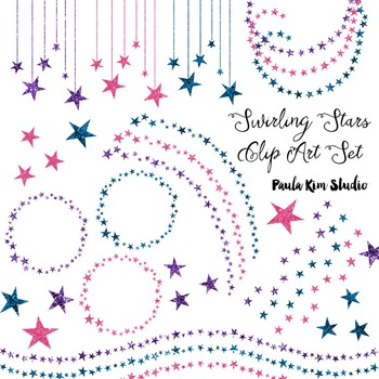 Glitter Swirling Stars Clip Art Set #3 Jewel Tones