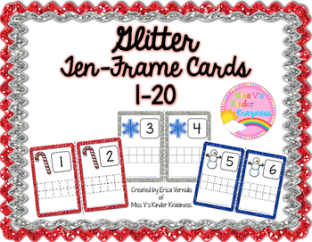 Glitter Ten-Frame Cards 1-20 (Winter Edition)