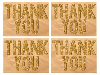 Glitter Thank You Postcards