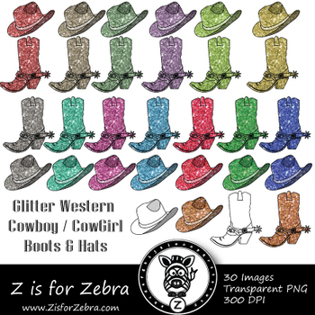 Glitter Western Boots & Hats Clip art - Commercial Use OK { Z is for Zebra}