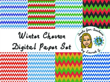 Glitter Winter Chevron Digital Papers {for personal and commercial use}