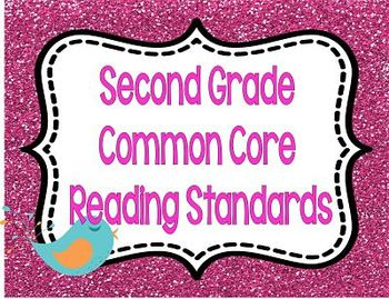 COMMON CORE Standards and I Can Posters *Glitter and Birds Second Grade