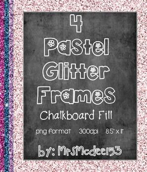 Glitter and Chalkboard Digital Scrapbook Frames {4 Pastel Colors}