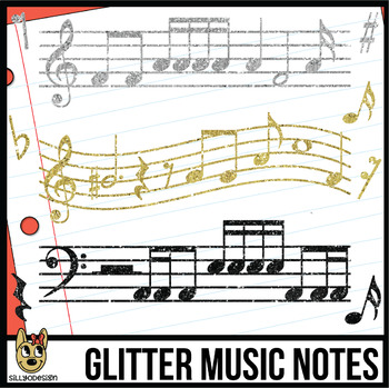 Glitter and Gold Music Notes Clip Art