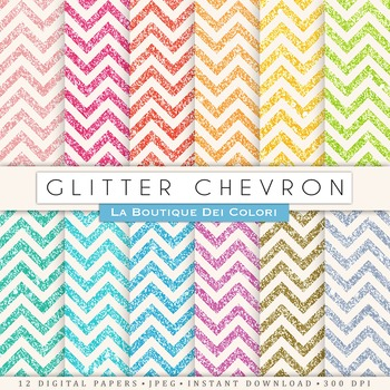 Glitter chevron Digital Paper, scrapbook backgrounds