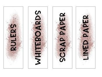 Glitter classroom labels
