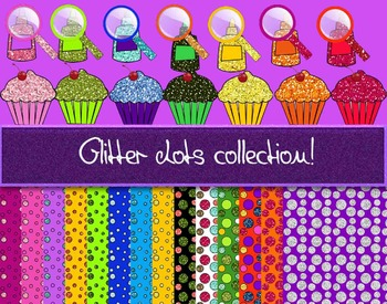 Clipart /digital paper - Glitter dots collection. 35 items!