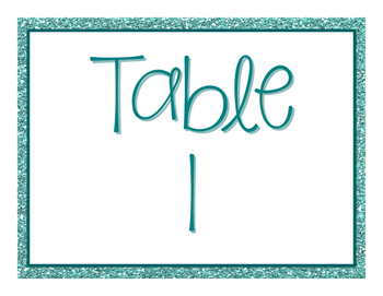 Glitter table group posters in English, French, and Spanish