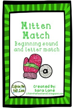 Beginning Sound and Letter Match Game- Mitten Match