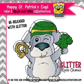 Glittered Saint Patrick's Day Puppy Freebie clip art