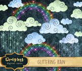 Glittering Rain, clouds, and rainbows sparkle png clipart clip art