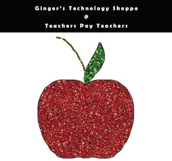 Glittery Apple Clipart * Back to School! * Freebie