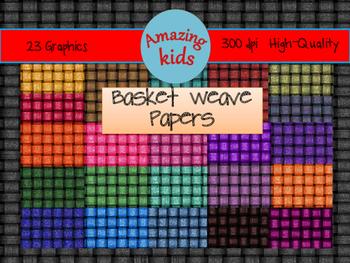 Glittery Basket Weave Papers Clip Art
