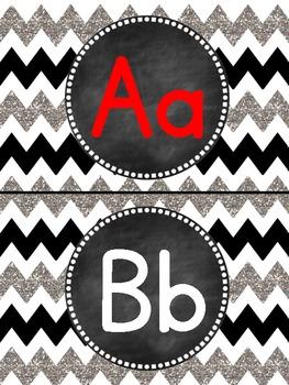 Glittery Chevron- (Black, White and Silver) Word Wall/Alphabet Headers