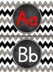 Glittery Chevron- (Black, White and Silver) Word Wall/Alph