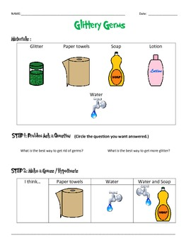 Glittery Germs Experiment and Data Sheets