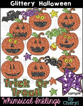 Glittery Halloween Clipart Collection