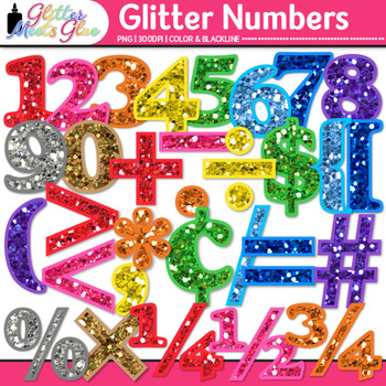 Rainbow Glitter Math Numbers Clip Art | Great for Classroom Decor & Resources