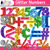 Rainbow Glitter Math Numbers Clip Art {Great for Classroom
