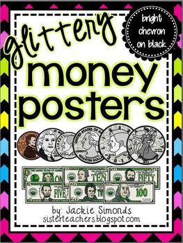 Glittery Money Posters *bright chevron on black*