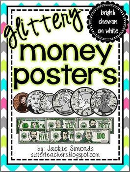 Glittery Money Posters *bright chevron on white*