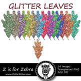 Glittery Oak Leaf Clipart - CU OK! { ZisforZebra }