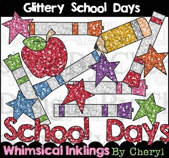Glittery School Days Clipart Collection