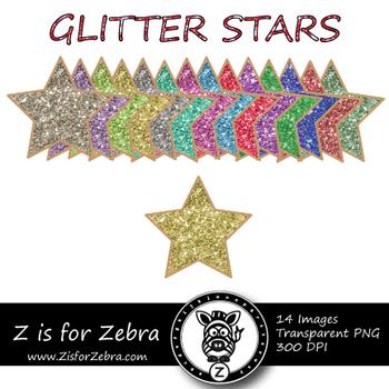 Glittery Stars Clipart - CU OK! { ZisforZebra }