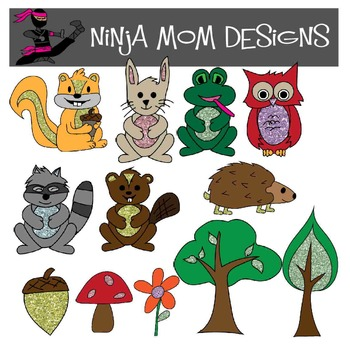 Glittery Woodland Creatures Clip Art in Color and Black Line