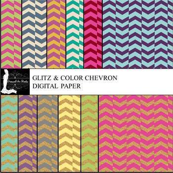 Glitz & Color Chevron Digital Paper