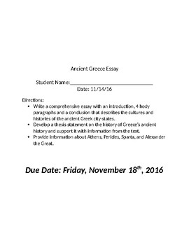Global  Ancient Greece Essay By Costellos Corner  Tpt Global  Ancient Greece Essay