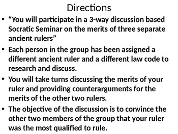 Global 1: Ancient Law Codes Socratic Seminar PowerPoint