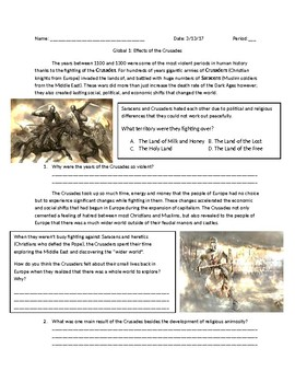 Global 1: Effects of the Crusades