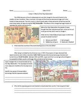 Global 1: Effects of the Meiji Restoration