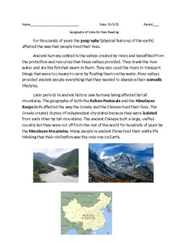 Global 1: Geography of India