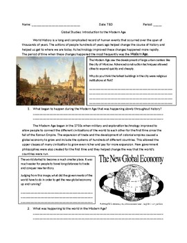 Global 1: Intro to the Modern Age