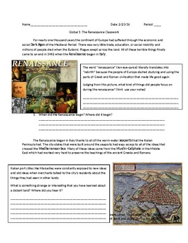 Global 1: Intro to the Renaissance