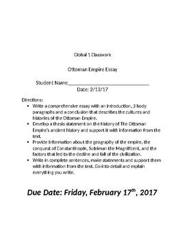 Global 1: Ottoman Empire Essay