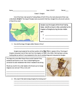 Global 1: Songhai Guided Reading Trading States of Africa