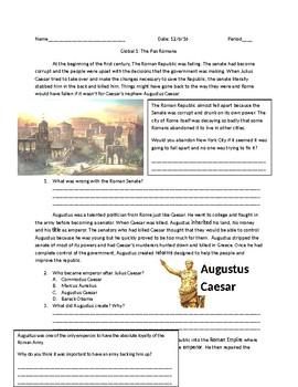 Global 1: The Pax Romana Worksheet