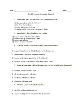 Global 1: The Protestant Reformation Guided Reading
