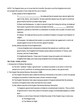 Global 10 Regents Review Fill-in Outline