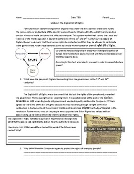 Global 2: The English Bill of Rights